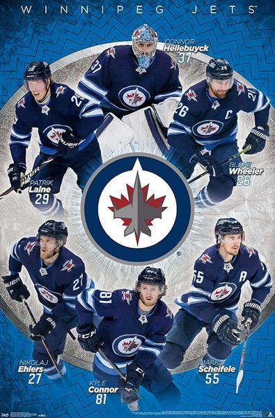 "Winnipeg Jets ""Superstars"" NHL Action Poster (Laine, Wheeler, Connor, +) - Trends Internaitonal 2020"