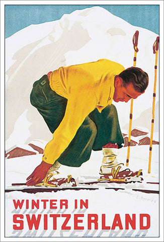 Winter in Switzerland (1938) Vintage Skiing Poster Classic Reprint Edition - Eurographics
