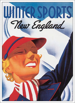 "Skiing ""Winter Sports in New England"" 1930s Classic Poster Reproduction - Eurographics Inc."