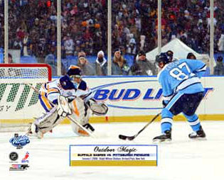 "Sidney Crosby vs. Ryan Miller ""Outdoor Magic"" (Winter Classic 2008) Premium Poster Print"