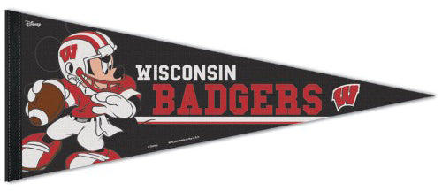 "Wisconsin Badgers ""Mickey QB Gunslinger"" Official NCAA/Disney Premium Felt Pennant - Wincraft Inc."