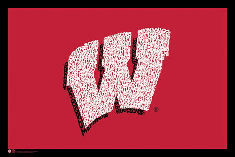 "Wisconsin Badgers ""On Wisconsin!"" Fight Song Logo Poster"