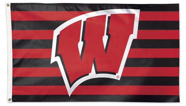 "University of Wisconsin ""W and Stripes"" Official NCAA Deluxe-Edition 3'x5' Flag - Wincraft"