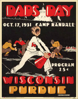 "Wisconsin Badgers Football ""Dad's Day 1931"" vs. Purdue  Vintage Program Cover Poster Print"