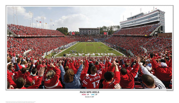 "NC State Football ""Pack Nips Heels"" Gameday Poster Print  - Sports Photos Inc."