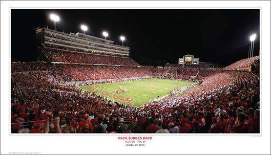 "NC State Wolfpack ""Pack Surges Back"" (10/28/2010) Premium Poster - Sport Photos Inc."