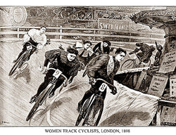 Women Track Cyclists 1898 Historic Cycling Poster Print - Presse 'e Sports