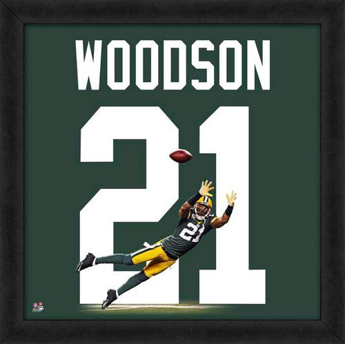 "Charles Woodson ""Number 21"" Green Bay Packers FRAMED 20x20 UNIFRAME PRINT - Photofile"