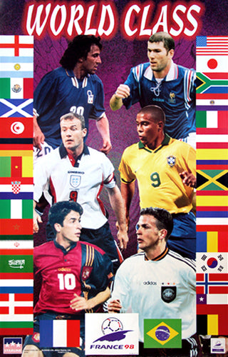 "World Cup Soccer 1998 ""World Class"" Poster (32 Nations, 6 Superstars) - Starline Inc."