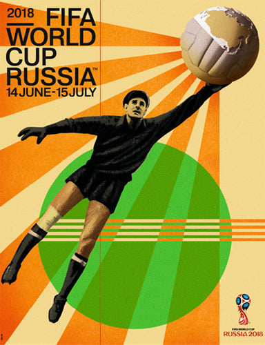FIFA World Cup 2018 Russia Official Event Poster (Artist Igor Gurovich, Goalkeeper Lev Yashin)