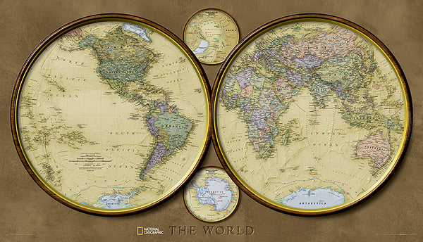 "Map of the World ""Hemispheres"" Retro 1940s Style National Geographic 25x43 Wall Map Poster - NG Maps 2010"