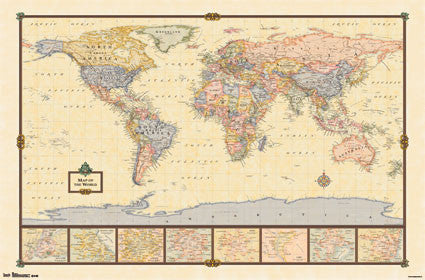 Classic-Style World Map Wall Poster - Trends International 2013