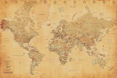 Gold-Toned Map Of The World (Mercator Projection) - Pyramid International (UK)