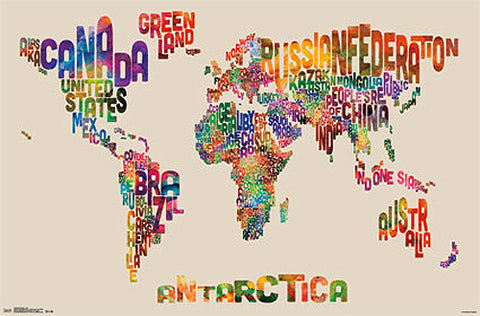 Map of the World Typography Text Map Poster by Michael Tompsett - Trends