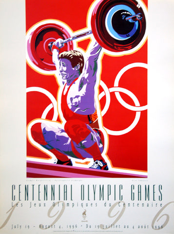 Atlanta 1996 Olympics Weightlifting Official Event Poster by Yamagata - Fine Art Ltd.