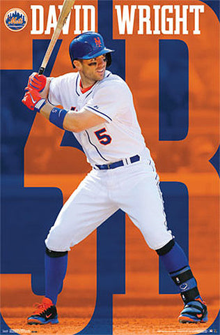 "David Wright ""Orange and Blue"" New York Mets MLB Action Wall Poster - Costacos 2014"