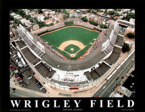 "Wrigley Field Chicago Cubs Gameday ""From Above"" Poster - Aerial Views 2000"