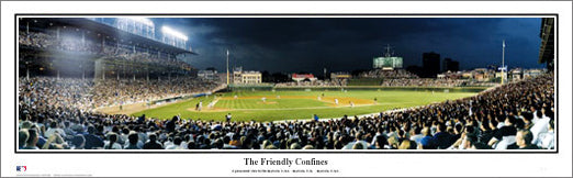 Wrigley Field Twilight Panoramic Poster Print - Everlasting Images Inc.