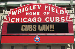 "Chicago Cubs Wrigley Field Marquee (""Cubs Win"") Poster - Costacos Sports"