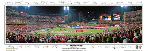 World Series 2011 St. Louis Cardinals Busch Stadium Panoramic Poster Print (w/28 Sigs) - Everlasting