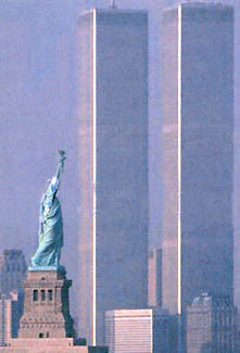 "New York City World Trade Center and Statue of Liberty ""Liberty Prevails"" Poster - Image Source 2001"
