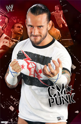 CM Punk WWE Wrestling Superstar Action Poster - Costacos Sports