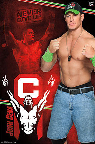 "John Cena ""Never Give Up"" WWE Wrestling Poster - Trends 2014"