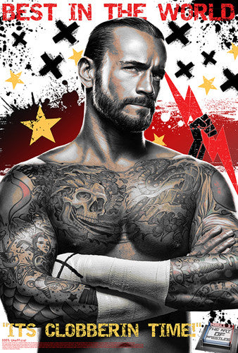 "CM Punk ""Clobberin Time"" WWE Superhero Ultimate Theme Art Poster - Starz"