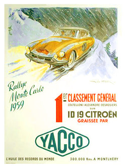 Yacco Oil Monte Carlo Rally 1959 (Citroen ID 19) Vintage Poster Reprint - Editions Clouets