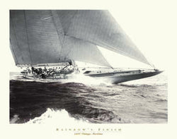 "Vintage Yacht Racing ""Rainbow's Finish"" (1934) Sepia Poster Print"