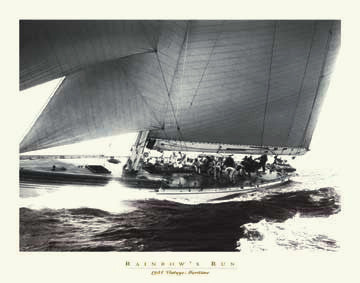 "Vintage Yacht Racing ""Rainbow's Run"" (1934) Sepia Poster Print"