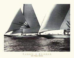 "Vintage Yacht Racing ""Yankee and Rainbow"" (1937) Sepia Poster Print"