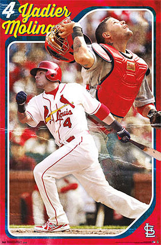 "Yadier Molina ""Throwback"" St. Louis Cardinals Official MLB Baseball Poster - Costacos 2013"