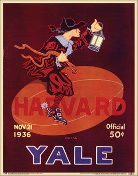 Yale vs. Harvard Football 1936 Vintage Program Cover Poster Reprint - Asgard Press