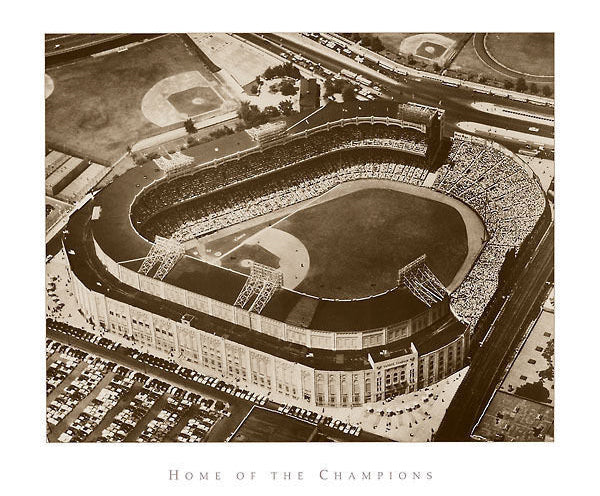 "Yankee Stadium ""Home of the Champions"" Aerial View 1957 Black-and-White Premium Poster - NYGS"