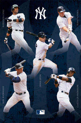 "New York Yankees ""Sluggers"" Poster (Jeter, Cano, A-Rod, ++) - Costacos Sports"