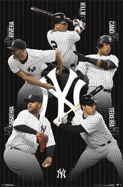 "New York Yankees ""Superstars"" 5-Player Baseball Action Poster - Costacos 2013"
