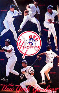 New York Yankees Superstars 1996 Poster (Jeter, Pettitte, Fielder, Gooden, Tino, Fielder) - Costacos 1996
