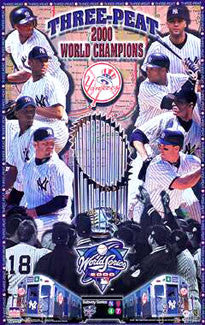 "New York Yankees 2000 World Series Champions ""Three-Peat"" Commemorative Poster- Starline Inc."