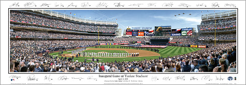 New Yankee Stadium Inaugural Game (2009) Panoramic Poster Print (w/Signatures) - Everlasting Images