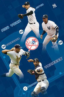 "New York Yankees ""Around the Horn"" Poster (Jeter, A-Rod, Posada, Cano) - Costacos 2008"