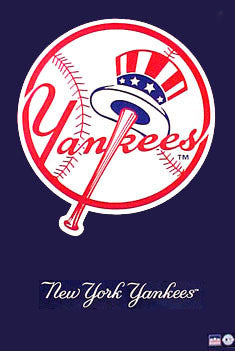 "New York Yankees ""Hat and Bat"" Classic Logo Poster - Starline 1993"