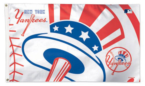 "New York Yankees ""Hat-and-Bat"" Official MLB Baseball Deluxe-Edition 3'x5' Flag - Wincraft Inc."