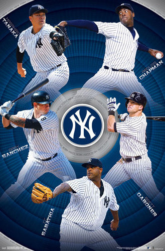New York Yankees Superstars 2017 Poster (Chapman, Tanaka, Sanchez, Gardner, Sabathia)