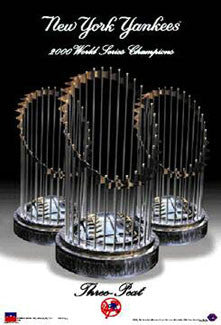 "Yankees ""Three-Peat"" (World Series 1998-2000) Commemorative Poster - Starline Inc."