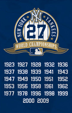 "New York Yankees ""Championship Years"" 27-Time Champions Permium Banner - Party Animal Inc."
