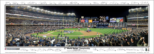New York Yankees 2009 World Series Celebration w/26 SIGS. Panoramic Print - Everlasting Images