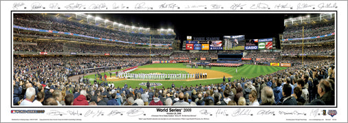 New York Yankees Yankee Stadium World Series 2009 Panoramic Poster (w/Facs. Sigs.) - Everlasting