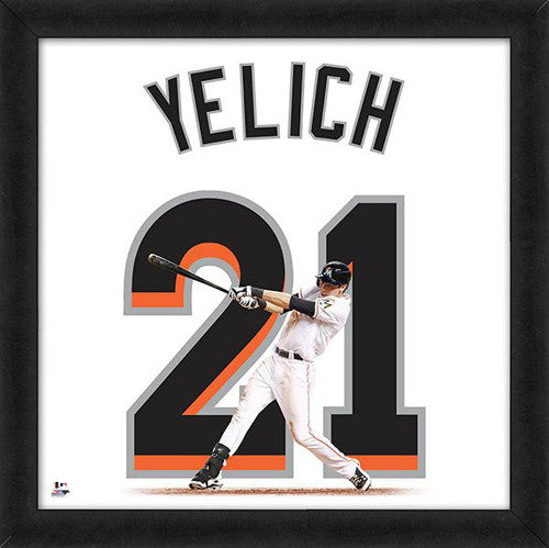 "Christian Yelich ""Number 21"" Miami Marlins MLB FRAMED 20x20 UNIFRAME PRINT - Photofile"
