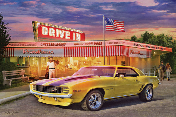 "Yellow Chevrolet Camaro Z/28 Rally Sport at Diner ""American Dream"" Poster by Greg Giordano - Eurographics Inc."